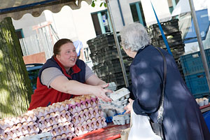 Egg stall with customer